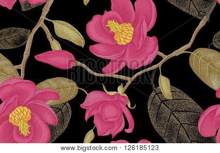 Seamless vector floral pattern. Illustration magnolia Victorian style. Vintage luxury decoration magnolia. Series floral design unique technique. Magnolia tree branch with flowers on black background.