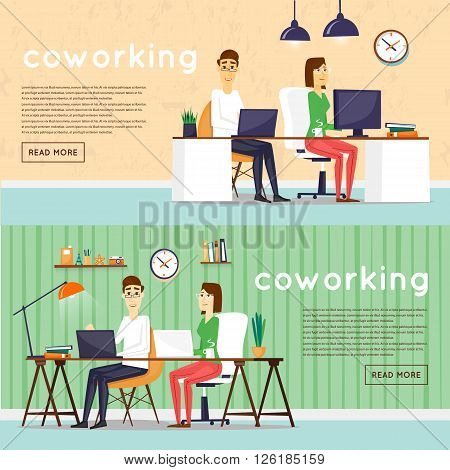 Co-working people, business meeting, teamwork, business, collaboration and discussion, brainstorm. Flat design vector illustration.