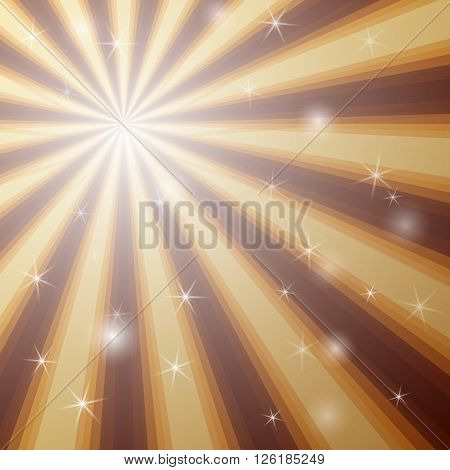 Vector stylish background with shining star with divergent bundle of beams in golden and brown colors for cover, flyer, banner, etc.