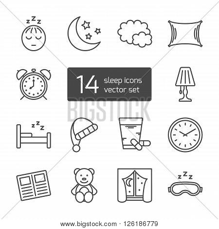 Set of isolated sleeping thin lined outlined icons. Vector signs for design of apps, interfaces, web sites, banners, presentations, etc.