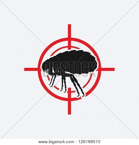 flea icon red target - vector illustration. eps 8