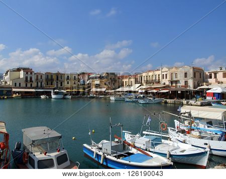 Beautiful Old Venetian Port, Rethymnon, Crete, Greece ** Note: Visible grain at 100%, best at smaller sizes