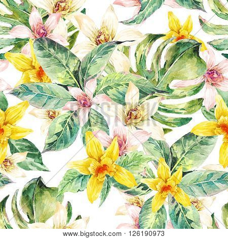 Natural floral leaves exotic watercolor seamless pattern, white and yellow flower orchid