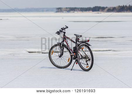 Berdsk Novosibirsk Oblast Siberia Ob River Russia - April 17 2016: mountain bike company Giant ice of the Siberian river Ob
