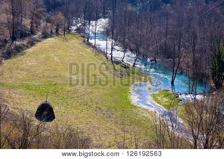 Korana river valley and meadow aerial view Lika Croatia