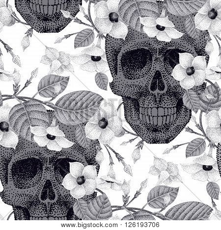 Template pattern of human skulls and flowers seamless vector. Human skulls and devil's guts plant black and white. Abstract illustration on the theme of death.