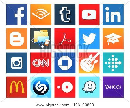 Kiev Ukraine - April 09 2016: Collection of popular 20 square icons of social networking books business education finance food health medical music navigation news photo and others