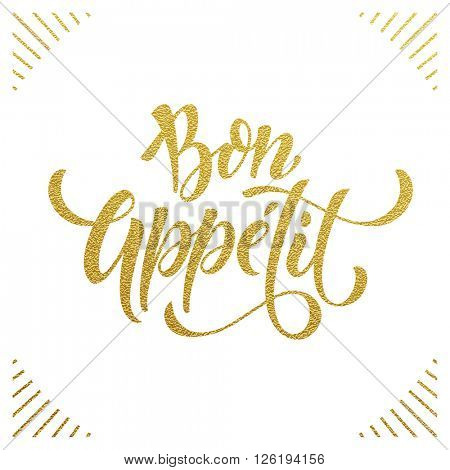 Bon Appetit text.  Gold text on white background. Vector illustration.