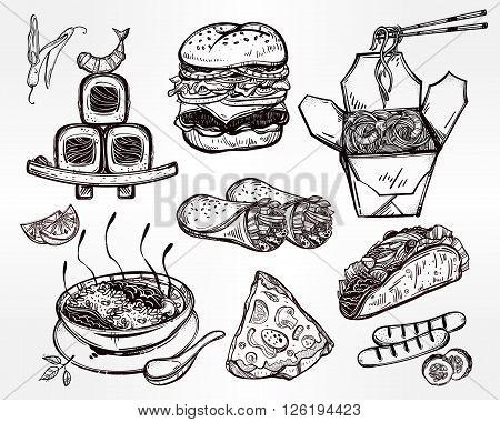 International food set for menu. International world food vector illustrations. Vector menu sketch. Fusion cuisine menu. Hand drawn international food menu. Template for restaurant or take out.