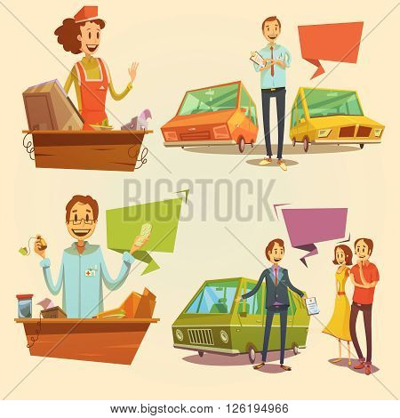 Salesman retro cartoon set with car dealer and pharmacy salesman isolated vector illustration