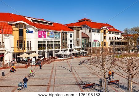 SOPOT, POLAND - APRIL 15, 2016: People on Monte Cassino street, Sopot most famous street with many shops, clubs, galleries. Sopot is a very popular tourist resort in the country.