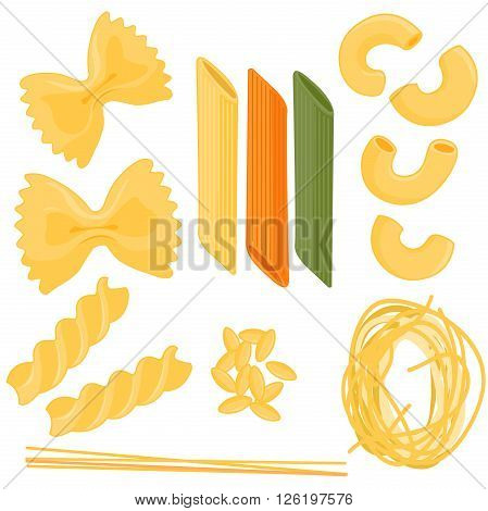 Vector illustration set of different types of pasta: farfalle, penne, spaghetti, elbow pasta, orzo,  fusilli