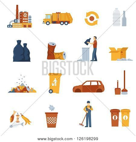 Concept icons set about garbage collection and disposal vector illustration