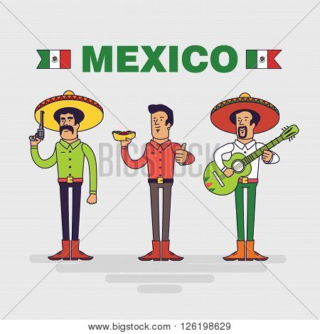 Mexican vector characters set. Mexican bandit, man with burrito and mariachi singer. Linear flat design