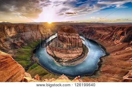 Sunset moment at Horseshoe bend Colorado River Grand Canyon National Park Arizona USA