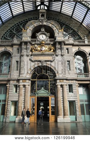 Antwerp, Belgium, March, 17, 2016,Entrance hall of the railway station Antwerp Central