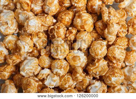 Caramel popcorn background