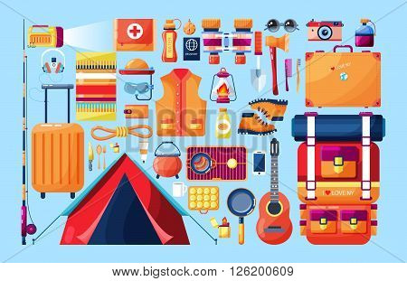 Stock vector illustration set of sports equipment for outdoor activities in the mountains, in nature, near a river in flat style element for info graphic, website, icon, games, motion design, video