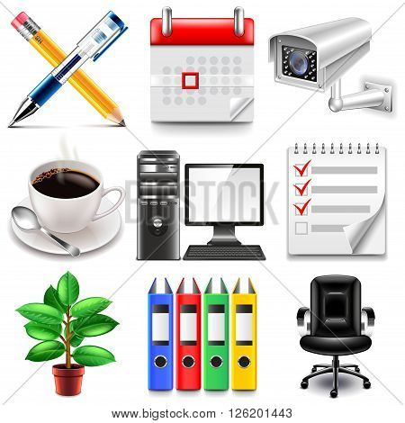 Office icons detailed photo realistic vector set