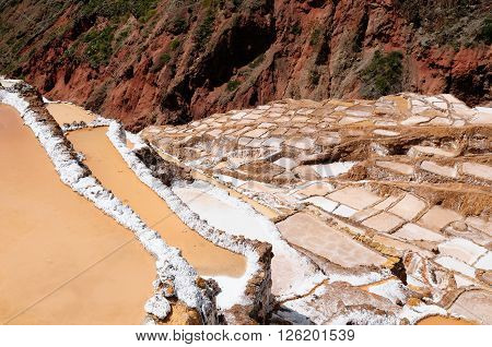 South America South America Pre Inca traditional salt mine (salinas) Sacred Valley Peru