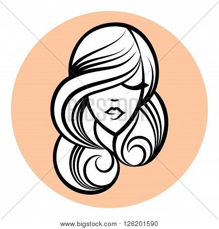 Woman silhouette women's face drawing. Abstract design concept beauty hair. Vector illustration. For beauty salon spa cosmetics design massage cosmetic and spa