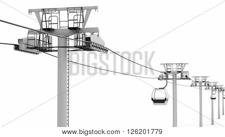 Cableway isolated on white background. 3d render image.