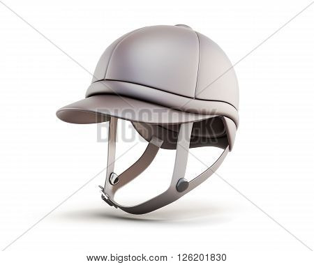 Jockey equestrian helmets isolated on white background. 3d rendering.