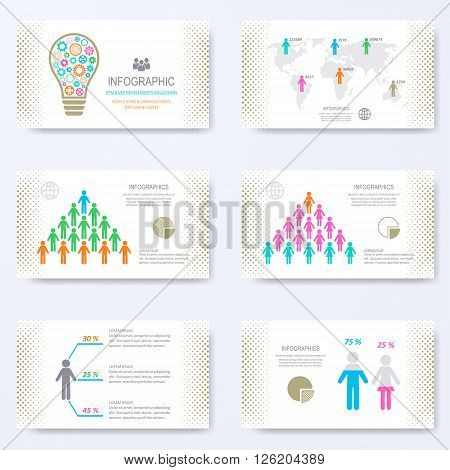 Vector template for presentation slides with demographic signs