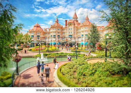 DISNEYLAND, PARIS, FRANCE - JUNE 30, 2014. The Disneyland Hotel in Eurodisney, Paris is the main entrance to the Park.