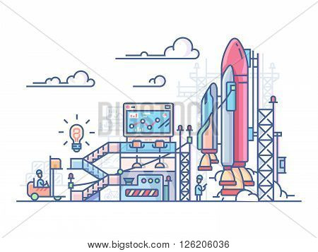 Startup rocket launch. Technology project and development innovation, spaceship vector illustration