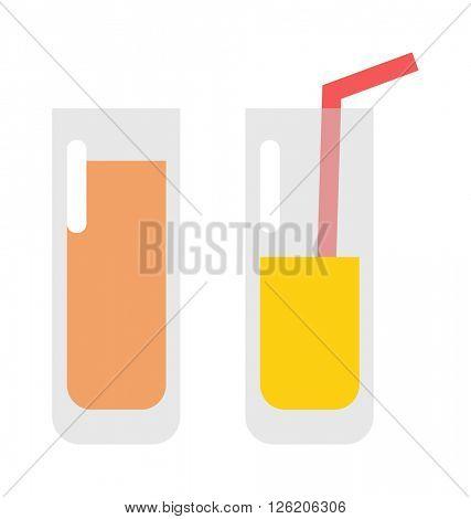 Glass of orange juice fresh drink beverage healthy flat isolated vector illustration.
