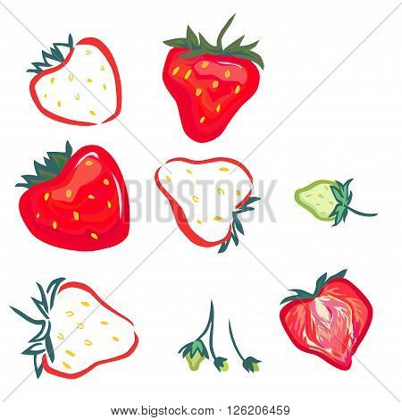 Stylized vector strawberry. Green strawberries, and red, stylized. And one berry is cut in half.