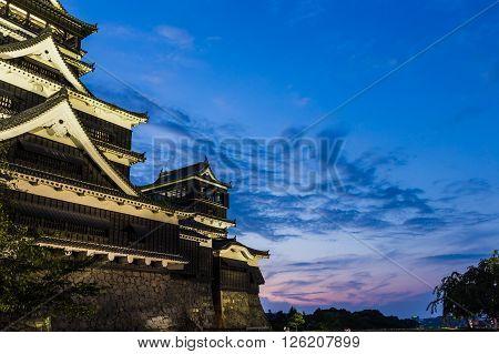 Kumamoto Castle At Night In Kumamoto, Kyushu, Japan.