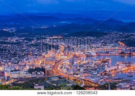 Sasebo downtown skyline at night Nagasaki Japan.