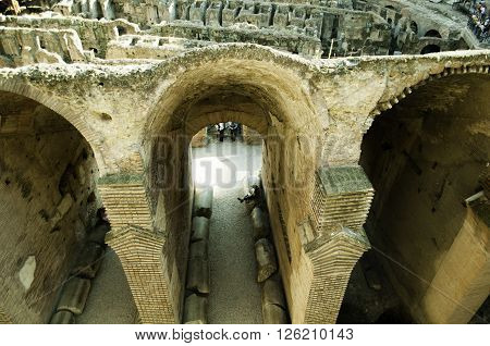 Interior view of the Roman Coliseum from above