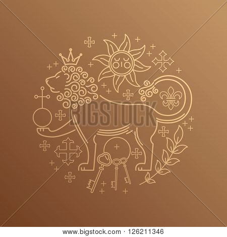 A set of abstract vector icons on the theme of royal power in the circle. Image symbol of royal power - lion keys sun power lily cross branch. Vintage. Linear style.