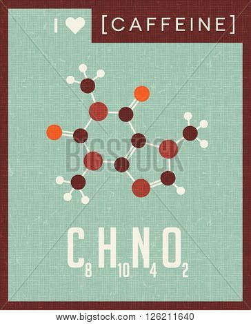 retro scientific poster banner illustration of the molecular formula and structure of caffeine. For those who love coffee.