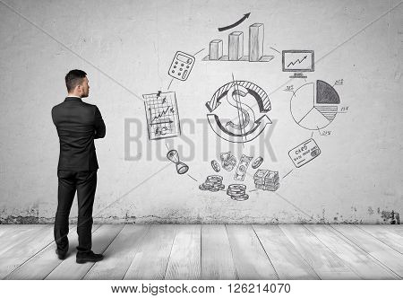 Back view of businessman looking and thinking about calculation of increased money revenue and profit. Sketches on a wall.