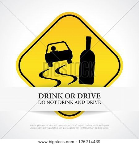 Do not drink and drive sign isolated on white background