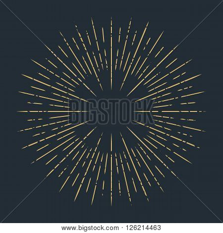 Abstract ray of the sun decoration element. Vector illustration for vintage design. Retro summer sun background. Burst frame and border. Hipster style. Line beam shape template. Hipster art stamp.