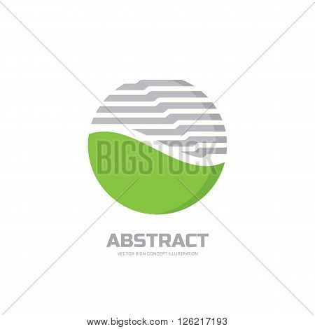 Abstract vector logo concept illustration. Abstract stripes in circle. Sphere vector logo. Nature bio product logo sign. Geometric logo sign. Vector logo design template.