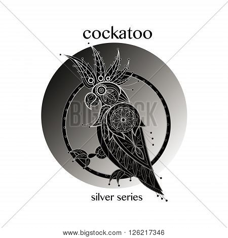Cockatoo. Vector cockatoo icon in a circle. Concept image of decorative bird. Modern trend - linear design. Illustration cockatoo logo sign symbol object of nature. Series black white and silver.