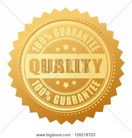 Quality guarantee certificate isolated on white background