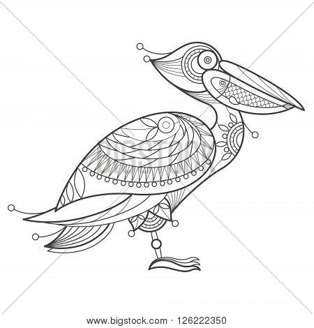 Vector illustration decorative pelican on white background. Fashion trend of adult coloration. Bird pelican vector with elements oriental motif Turkish cucumber. Black and white. Modern vector design.