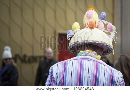 NEW YORK - MAR 27 2016: Close up of an Easter bonnet of colorful eggs worn by a parade goer on 5th Avenue on Easter Sunday for the traditional Easter Bonnet Parade in Manhattan on March 27, 2016.