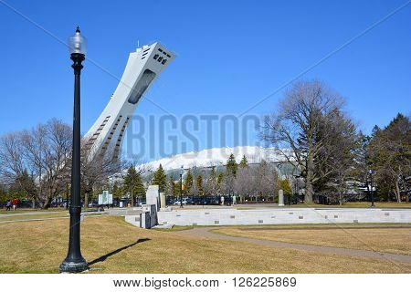 MONTREAL,CANADA APRIL 17 2016. The Montreal Stadium and tower. It's the tallest inclined tower in the world.Tour Olympique stands 175 meters tall and at a 45-degree angle