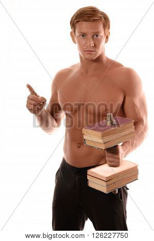 sports guy without a shirt with a dumbbell made of books. thumbs up. the concept of knowledge is power