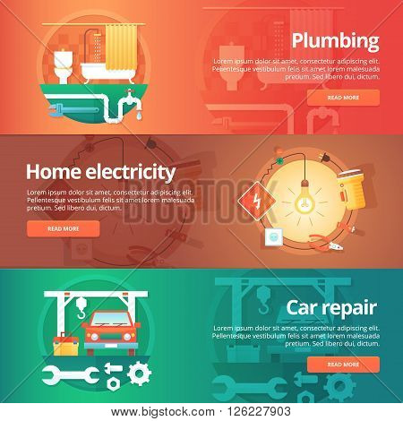 Construction and building banners set. Flat illustrations on the theme of home plumbing,  electricity, car repair service station. Vector design concept.