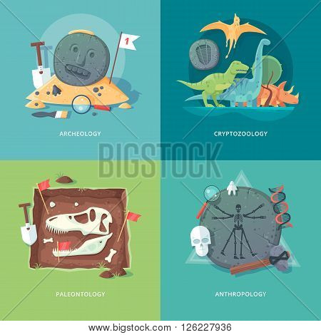 Education and science concept illustrations. Archeology, cryptozoology, paleontology and anthropology . Science of life and origin of species. Flat vector design banner.