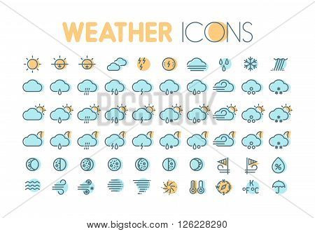 Weather icons. Weather forecast symbols and elements. Collection for weather widgets.